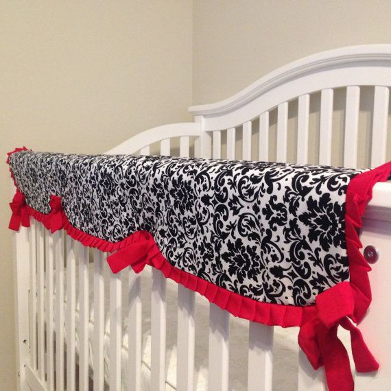 Black And White Damask Crib Rail Cover, Red And Black Damask Crib Bedding