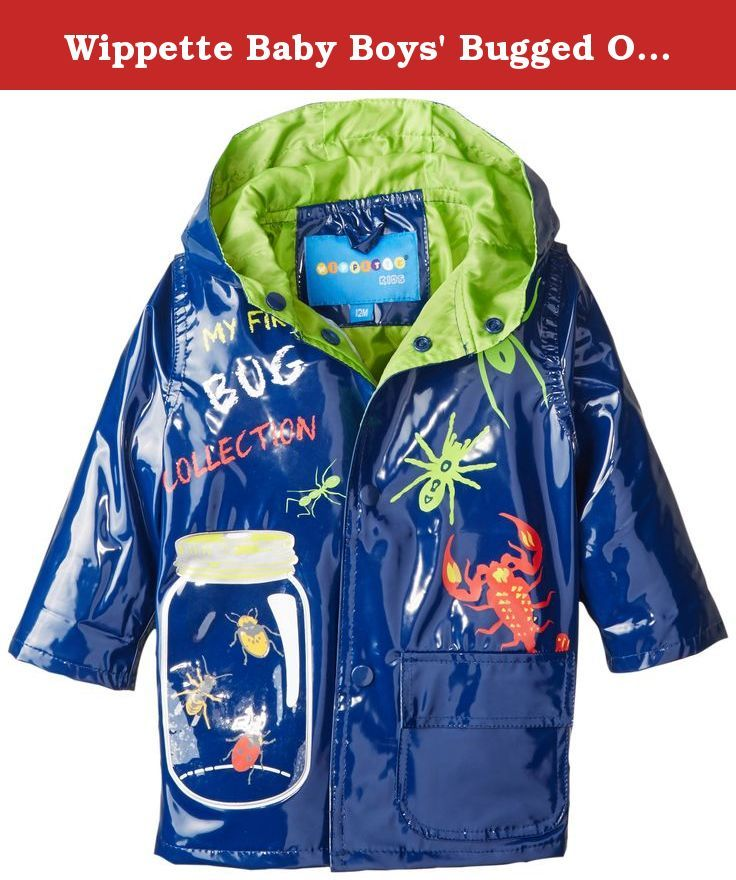 6a0739bc9 Wippette Baby Boys' Bugged Out Rain, Navy, 12 Months. Hooded rain jacket  with bug print all over.