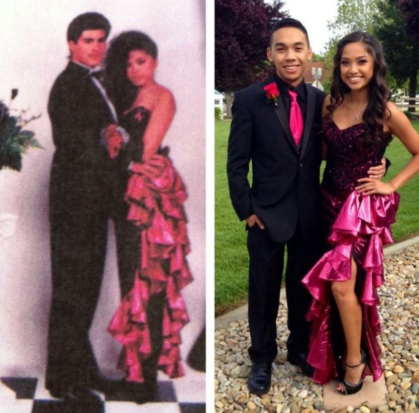 Heartwarming Photos Show Teens Wearing Their Mom\'s Prom Dress
