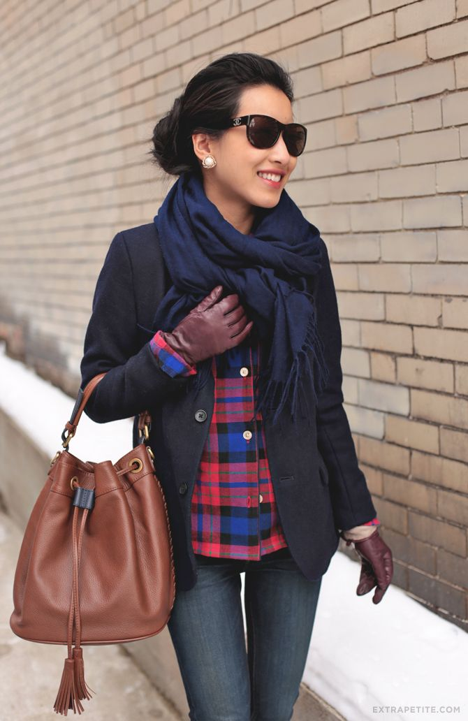ExtraPetite.com - Winter casual: PJ top and wool layers