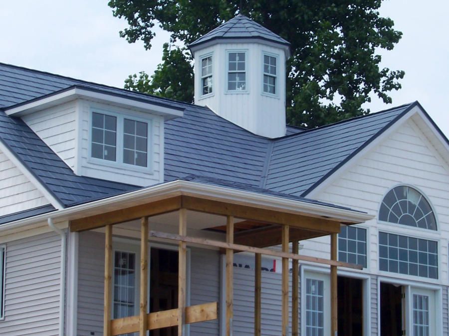 Best Blue Metal Roof White House Roof Installation Metal 640 x 480