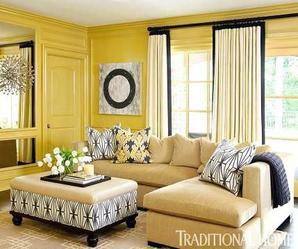 Gelbe Wohnzimmer-Ideen Pinterest