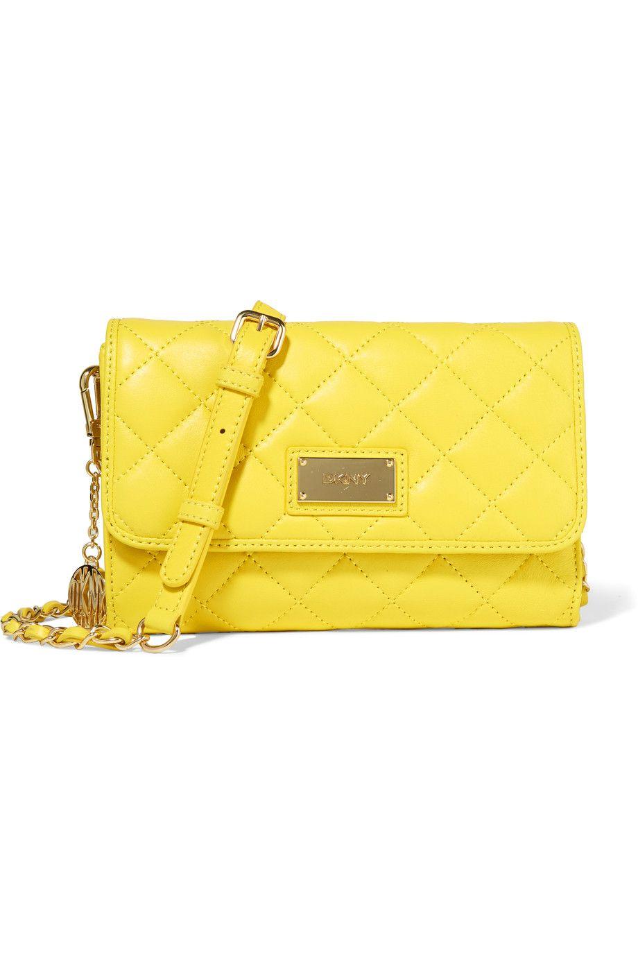 DKNY Quilted Leather Shoulder Bag. #dkny #bags #shoulder bags #leather #glitter #