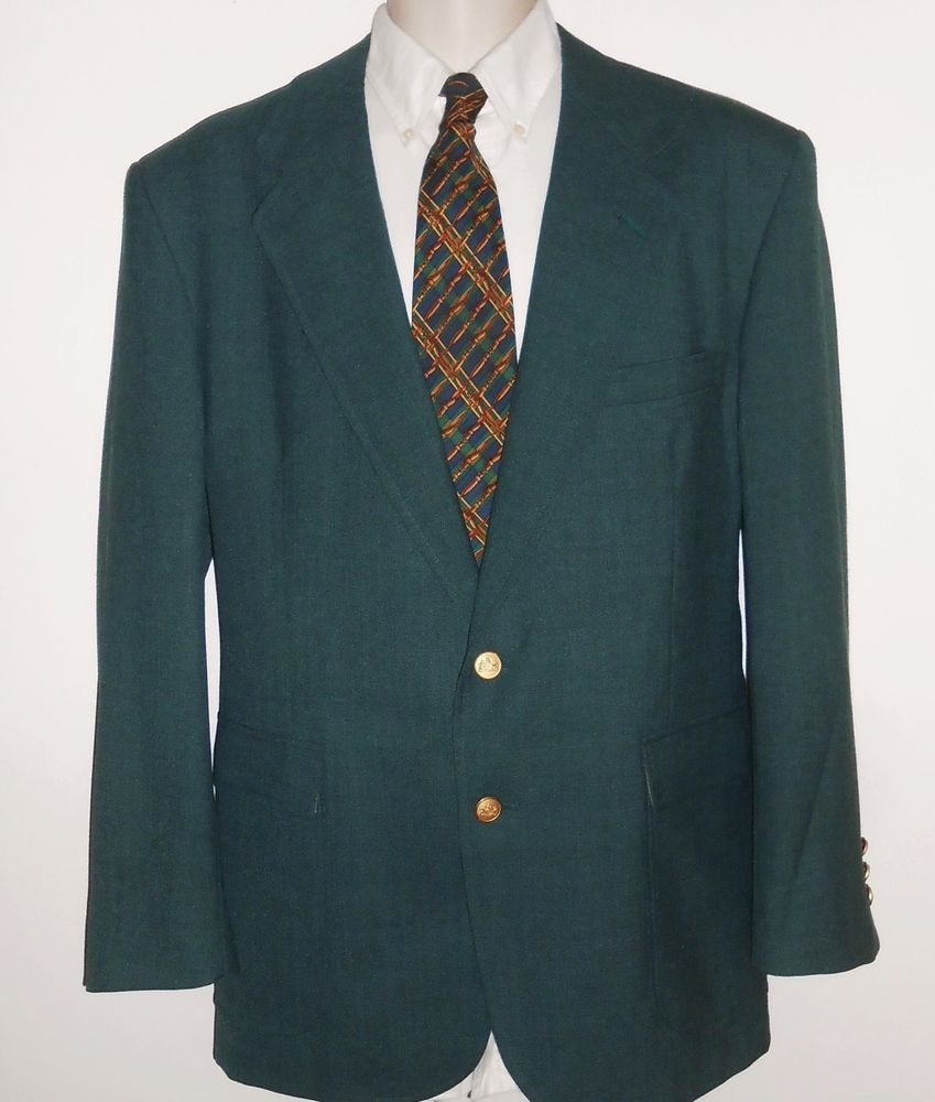 Stafford 44R Green Sport Coat Masters Gold Button Blazer #Stafford ...