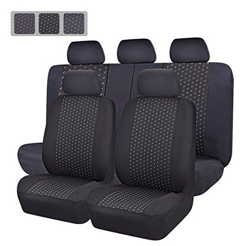 8214d0616cec CAR PASS Universal Jacquard Car Seat Covers Set Black and Gray 11Piece    Want additional info  Click on the image.  s4s