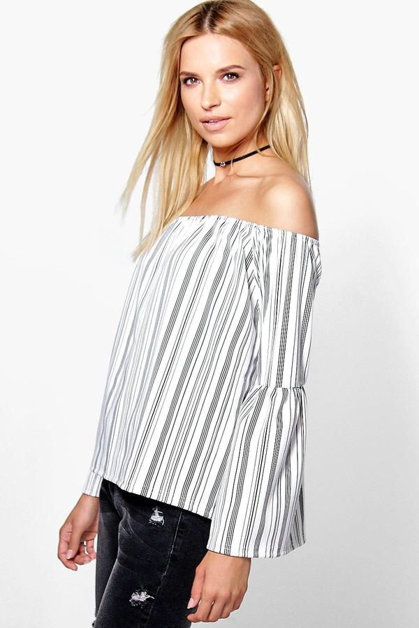 68e640dc04cd98 boohoo Maggie Wide Sleeve Stripe Off The Shoulder Top