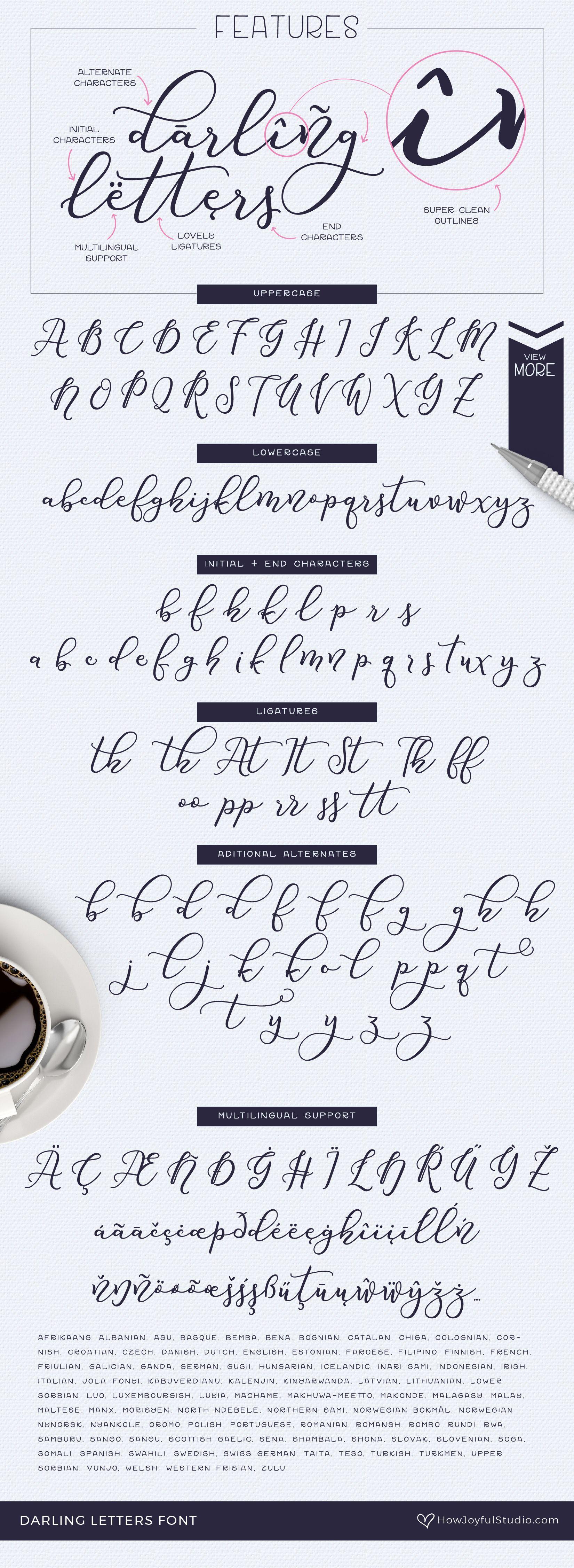 Darling Letters Script Font Howjoyful Studio