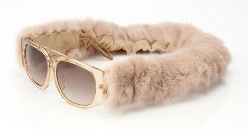 Alexander Wang Linda Farrow Beige Mink Fur sunglasses