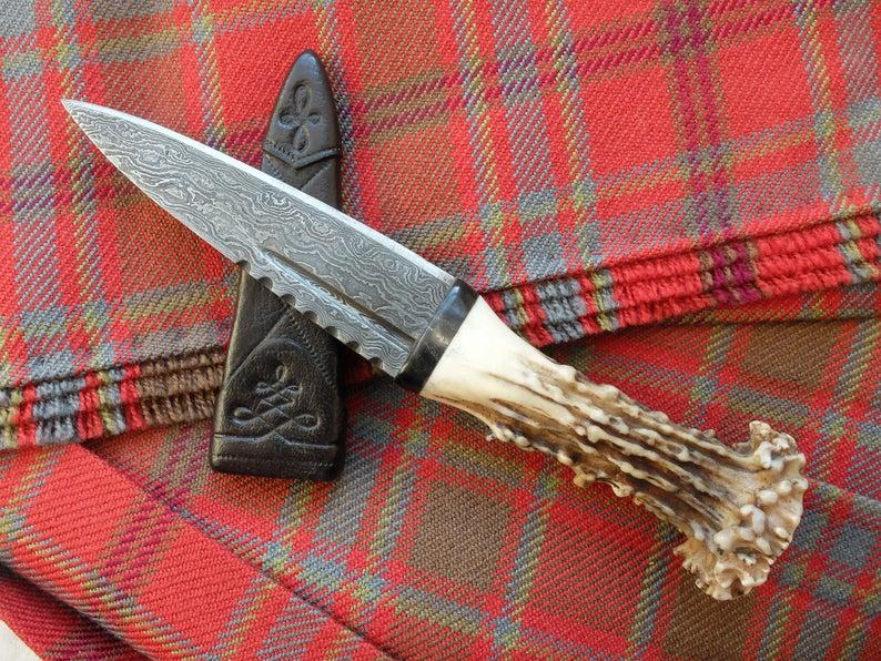 best man gift Scottish gift,wedding gift groom gift Damascus Steel Sgian Dubh in Scottish Red Deer Stag Antler and Wild Cherry mens gift