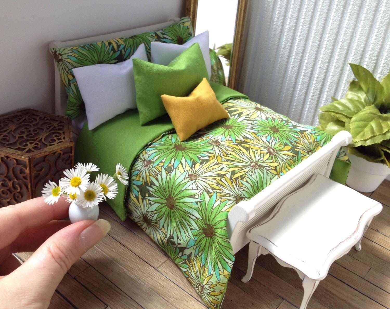 Bedding set modern miniatures dolls house green daisy floral