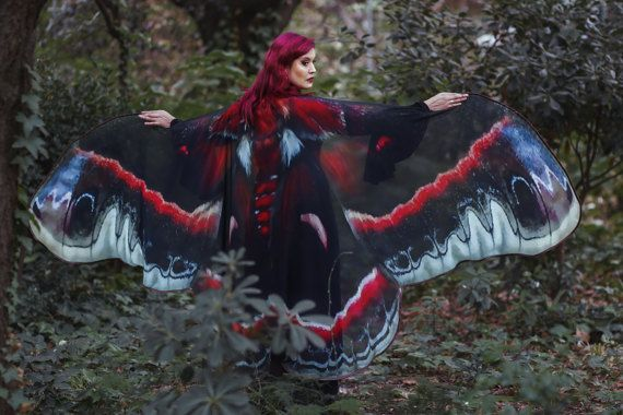 Moth Wings Costume Butterfly Cape Fairy Wings Festival Clothing Burning Man Moth Costume Wings Costume Moth Wings Costumes