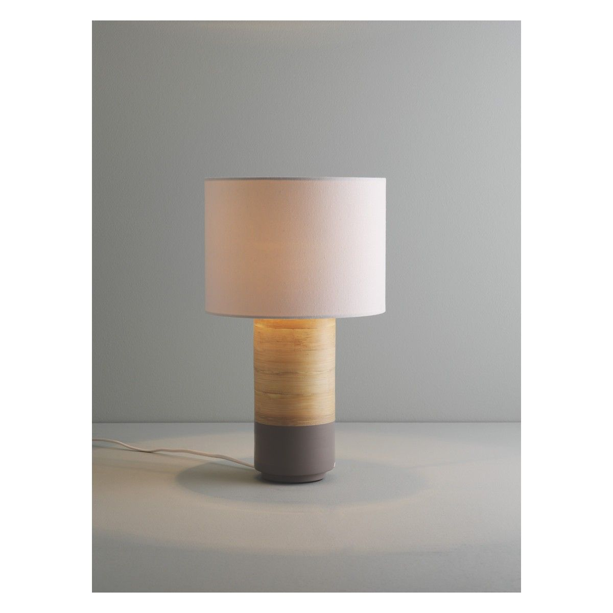 TUB Grey Spun Bamboo Table Lamp With Fabric Shade
