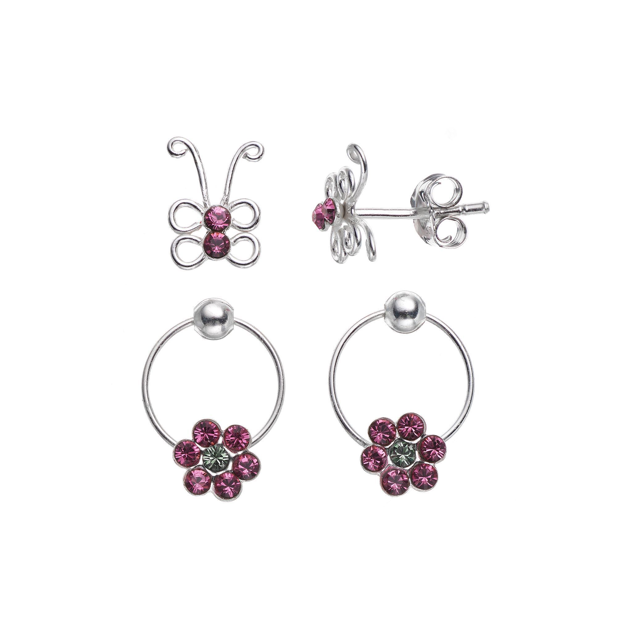 Charming Kids Sterling Silver Crystal Erfly Stud Flower Hoop Earring Set Made