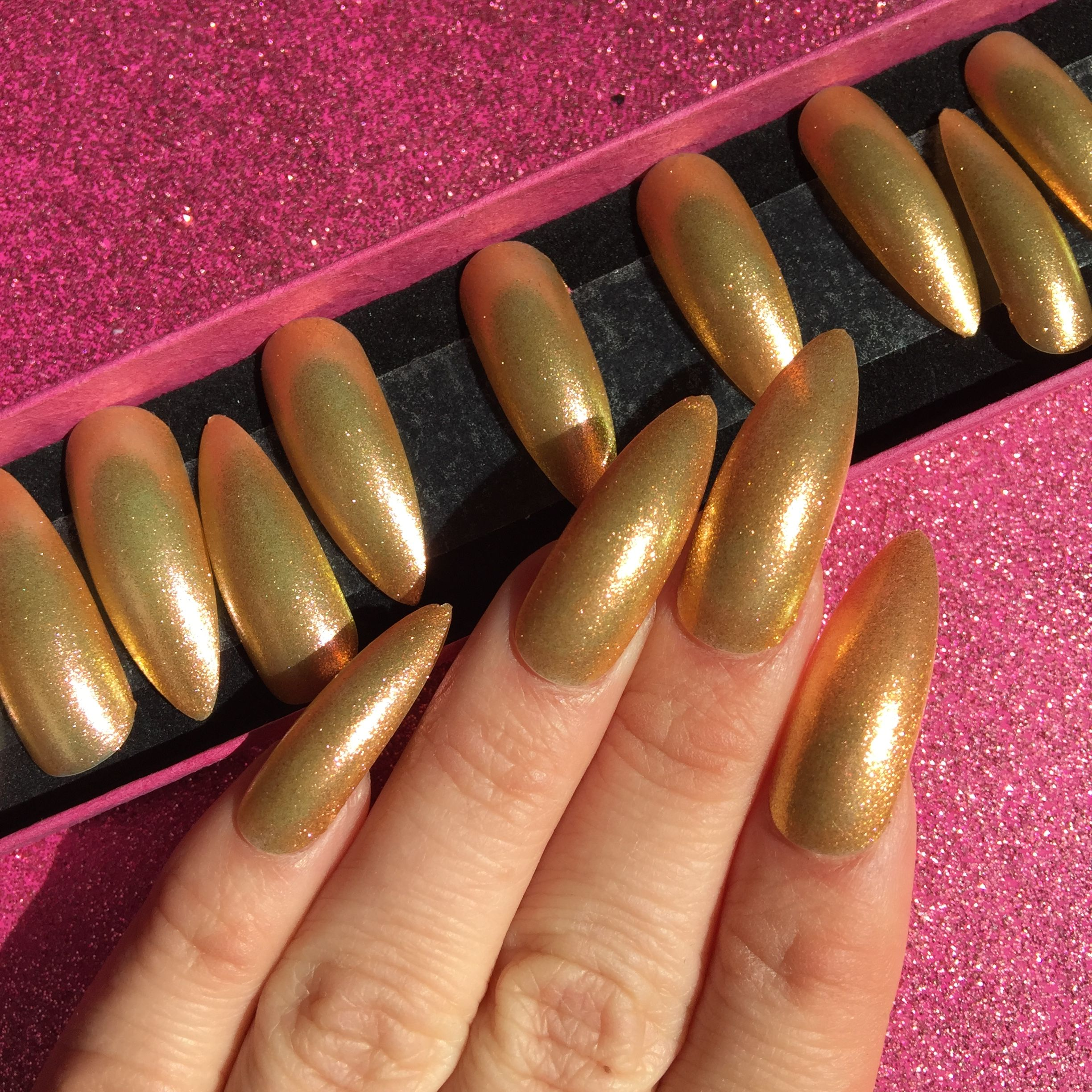 Long Stiletto gold holographic glitter press on nails. For sale on ...
