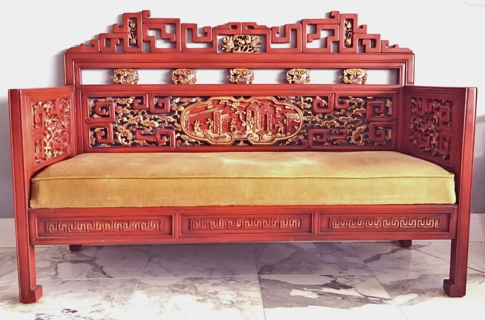 An ancient divan or low bed.