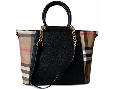 Designer Style Black Checked Handbag With Chain Linked Straps A Shu Co