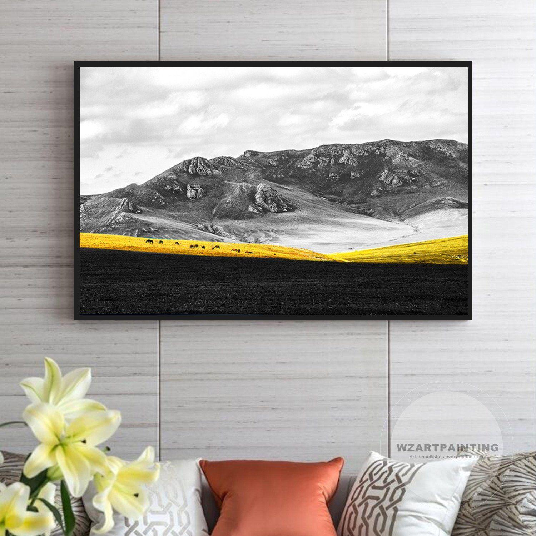 Framed Wall Art Mountain Gold Yellow Grassland Horse Landscape
