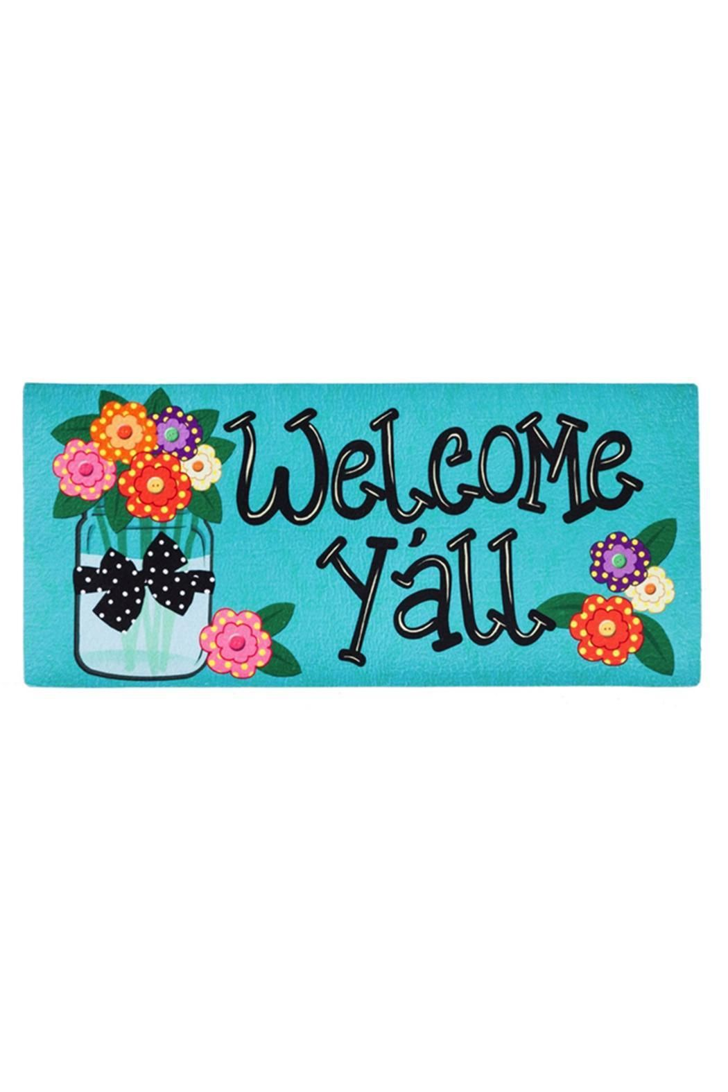 Sassafras Welcome Y'all Flowers Mat.  Size: 10 x 22 x 0.2 Flower Welcome Mat by Evergreen Enterprises. Home & Gifts - Home Decor - Outdoor Missouri