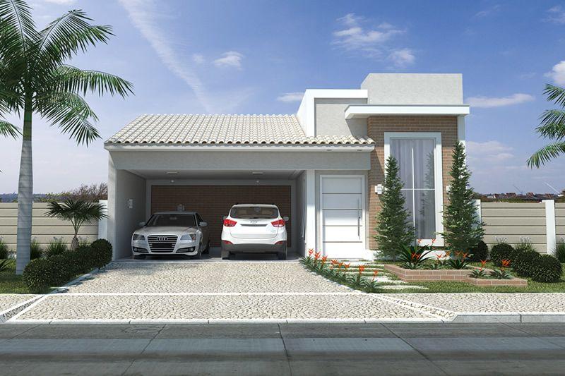 Planta de casa com fachada de tijolinho projetos de for Modelos de fachadas de casas