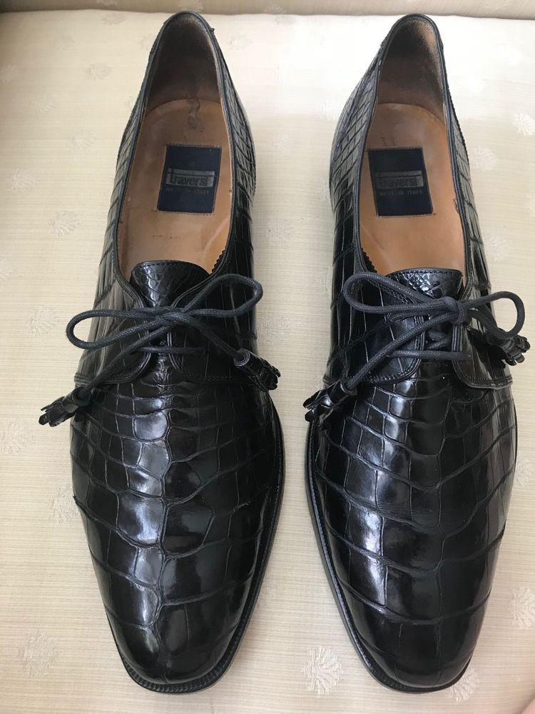 d5a291ecda9c eBay  Sponsored TRAVERSI Handsome Men s Black Alligator Oxford Lace-Up Shoes  Italy US Size 12