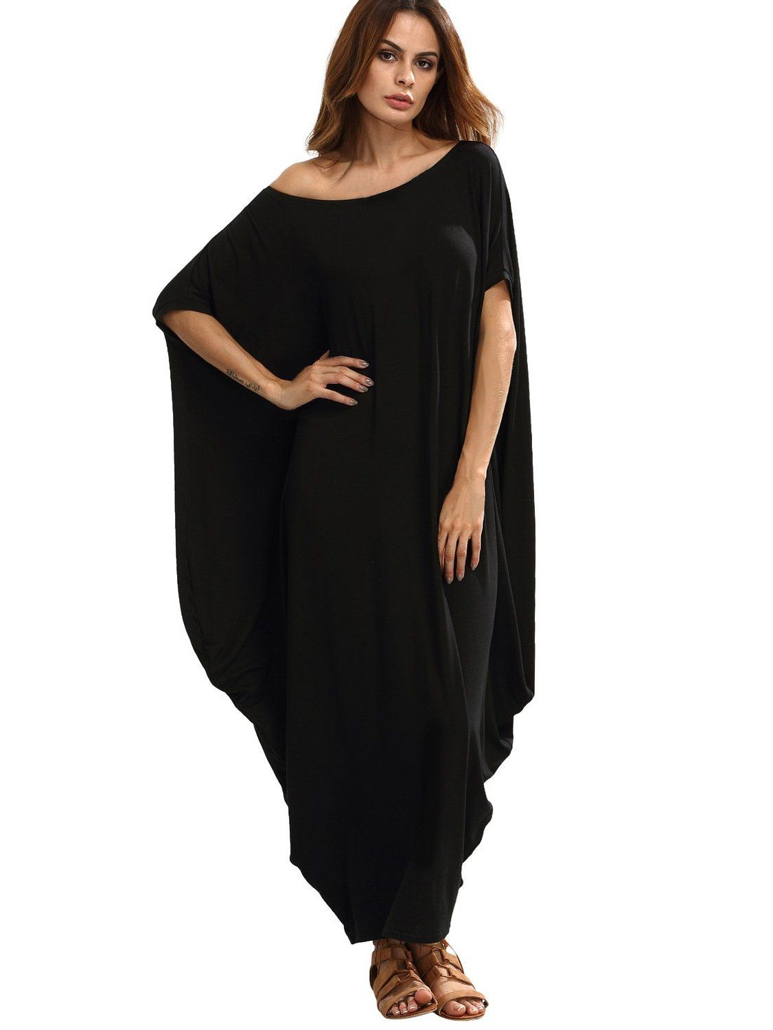 Verdusa womenus boho one off shoulder caftan sleeve harem maxi dress