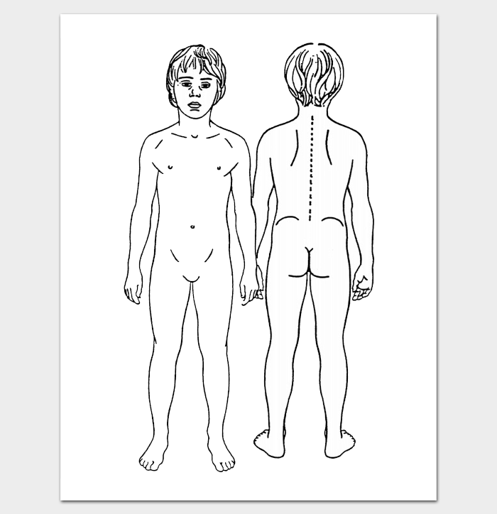 Human body outline front and back pdf outline templates create printable outline for male body front and back pronofoot35fo Gallery