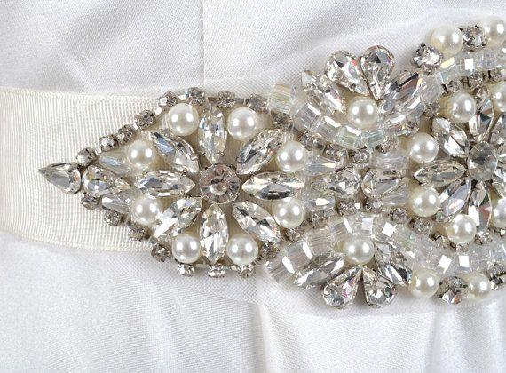 Luxury Crystal Rhinestone Pearls Bridal Belt Vintage by KeFormal