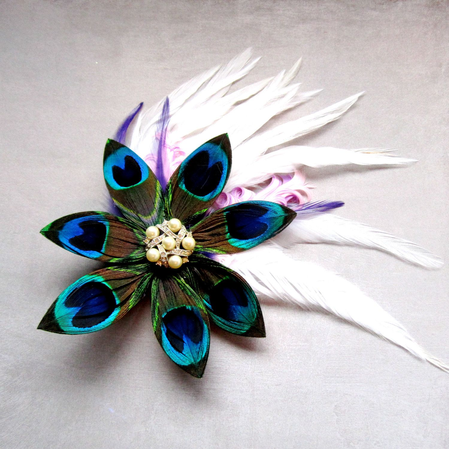 Peacock Wedding Ideas Etsy: Bridal Peacock Wedding Flower Feather Fascinator With