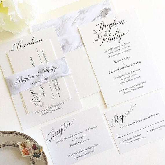 Modern Elegant Wedding Invitation Simple Calligraphy Invitation