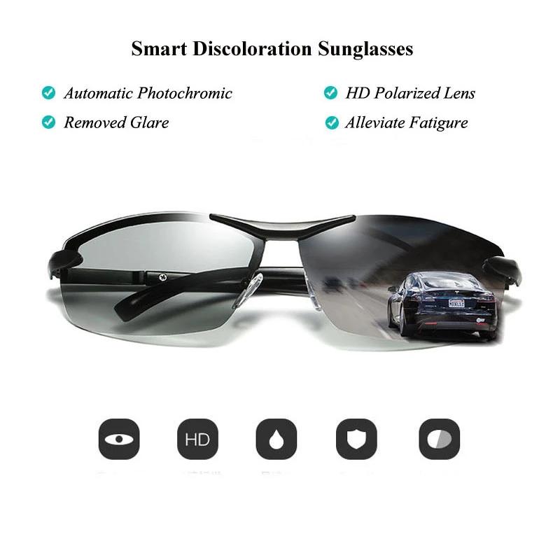 Men/'s Photochromic Polarized Sunglasses Transition Lens Outdoor Driving Glasses