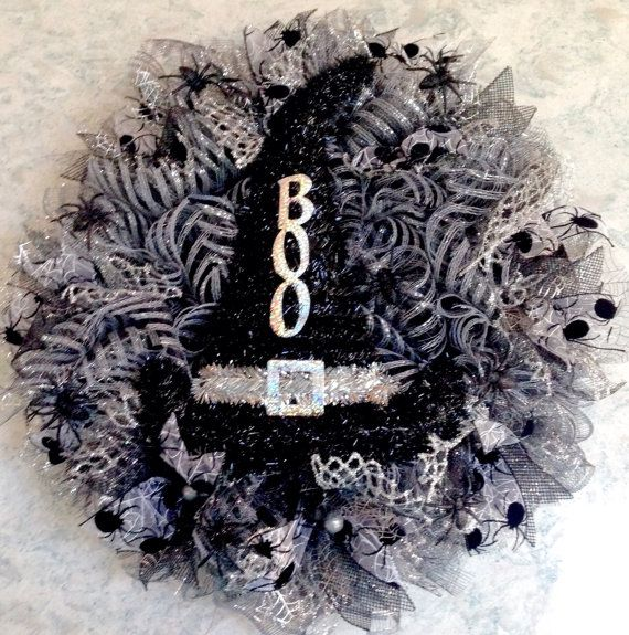 Darkness Falls Deco Mesh and Ribbon Wreath by WreathsByJeanZ