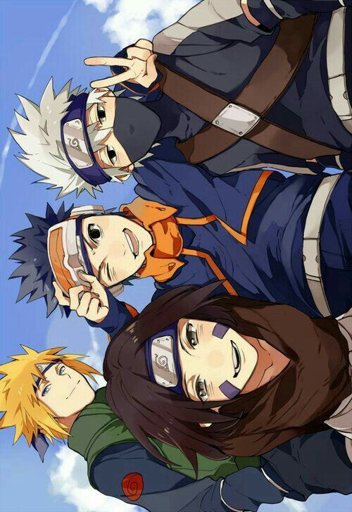 Maybe this is the best memory for them #kakashi #naruto #hatake #obito #rin #emojianime