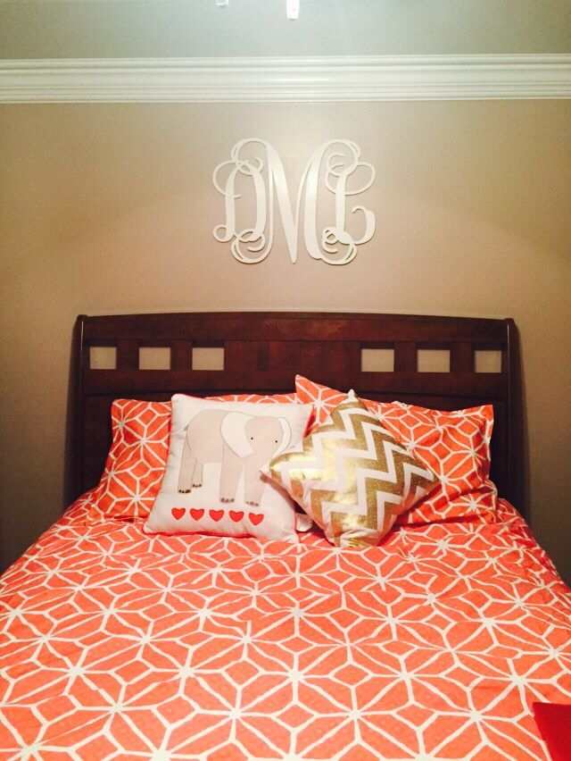 Coral Taupe And White Bedroom With A Monogram Wall Decal For - Coral monogram wall decal