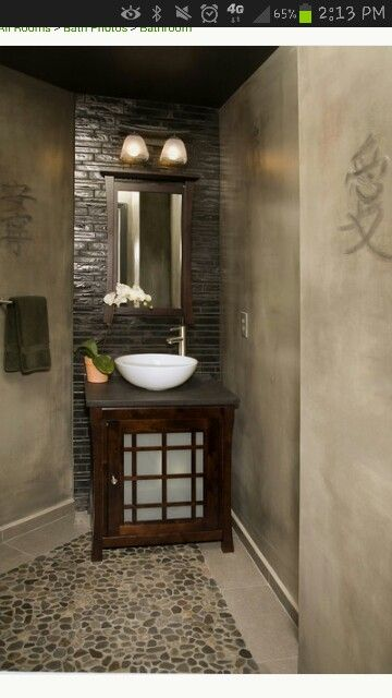 Love This Asian Style Bathroom..rock Flooring U0026 Silver Brick Back Splash