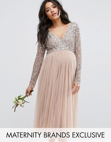 8b3be1a889ebe Maya Maternity | Maya Maternity Long Sleeve Midi Dress With Delicate Sequin  And Tulle Skirt