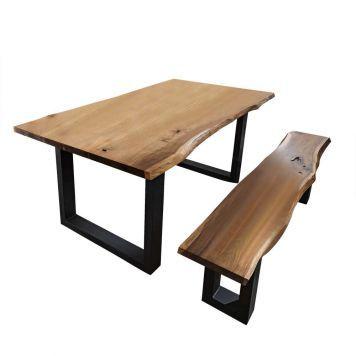esszimmergruppe mit baumkante akazie massivholz 2 teilig industrial stil pinterest tisch. Black Bedroom Furniture Sets. Home Design Ideas