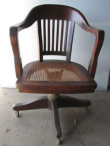 Antique Vintage Bankers Office Chair Wooden Swivel Cane Seat 1923 Oc617 Wooden Office Chair Chair Bankers Chair