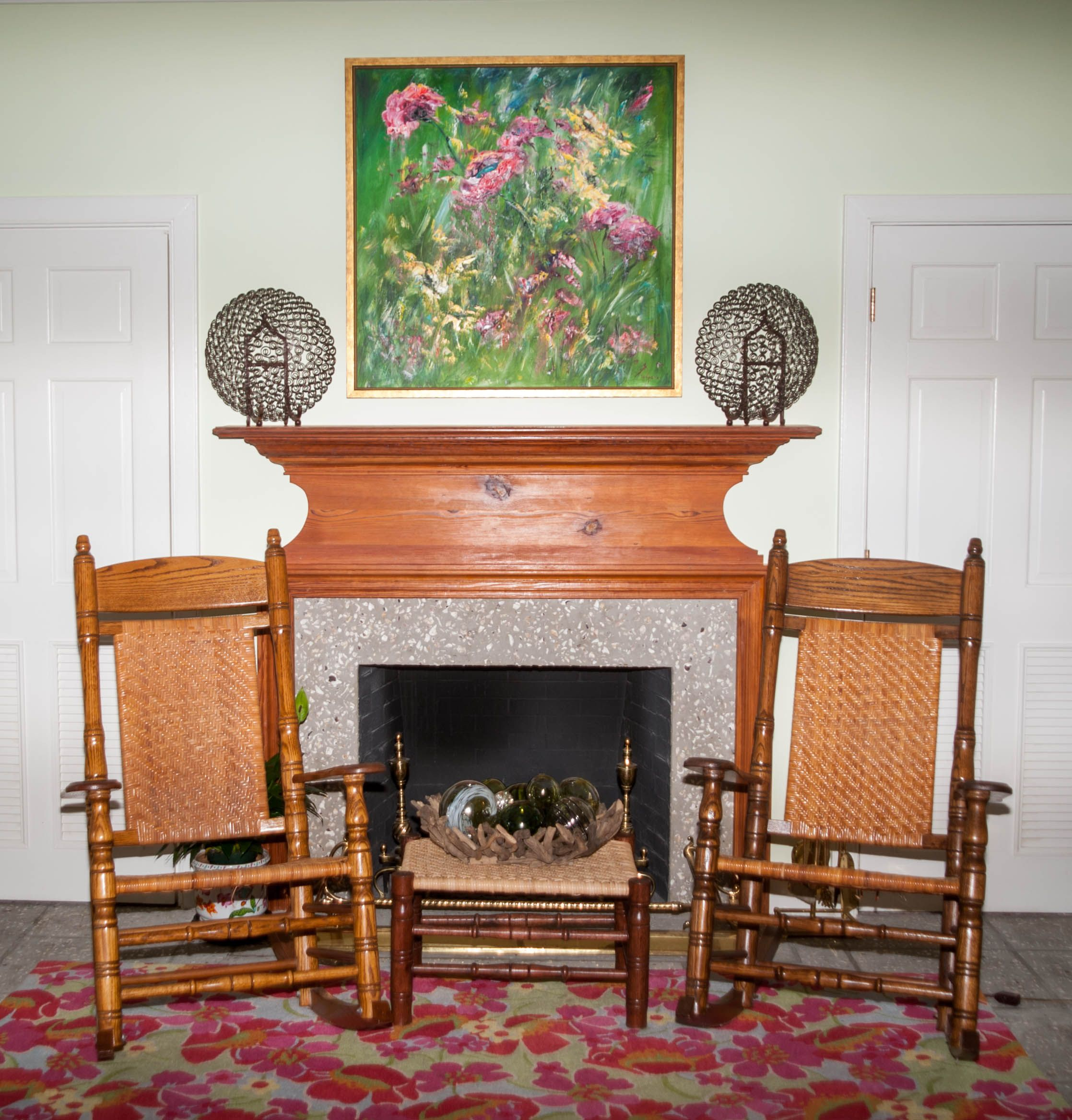 Couple Of Brumby Jumbo Rockers In Front Of A Fireplace And A Brumby Footstool Used As A Side Table Living Room Rocking Chairs Rocking Chair Porch Porch Rocker