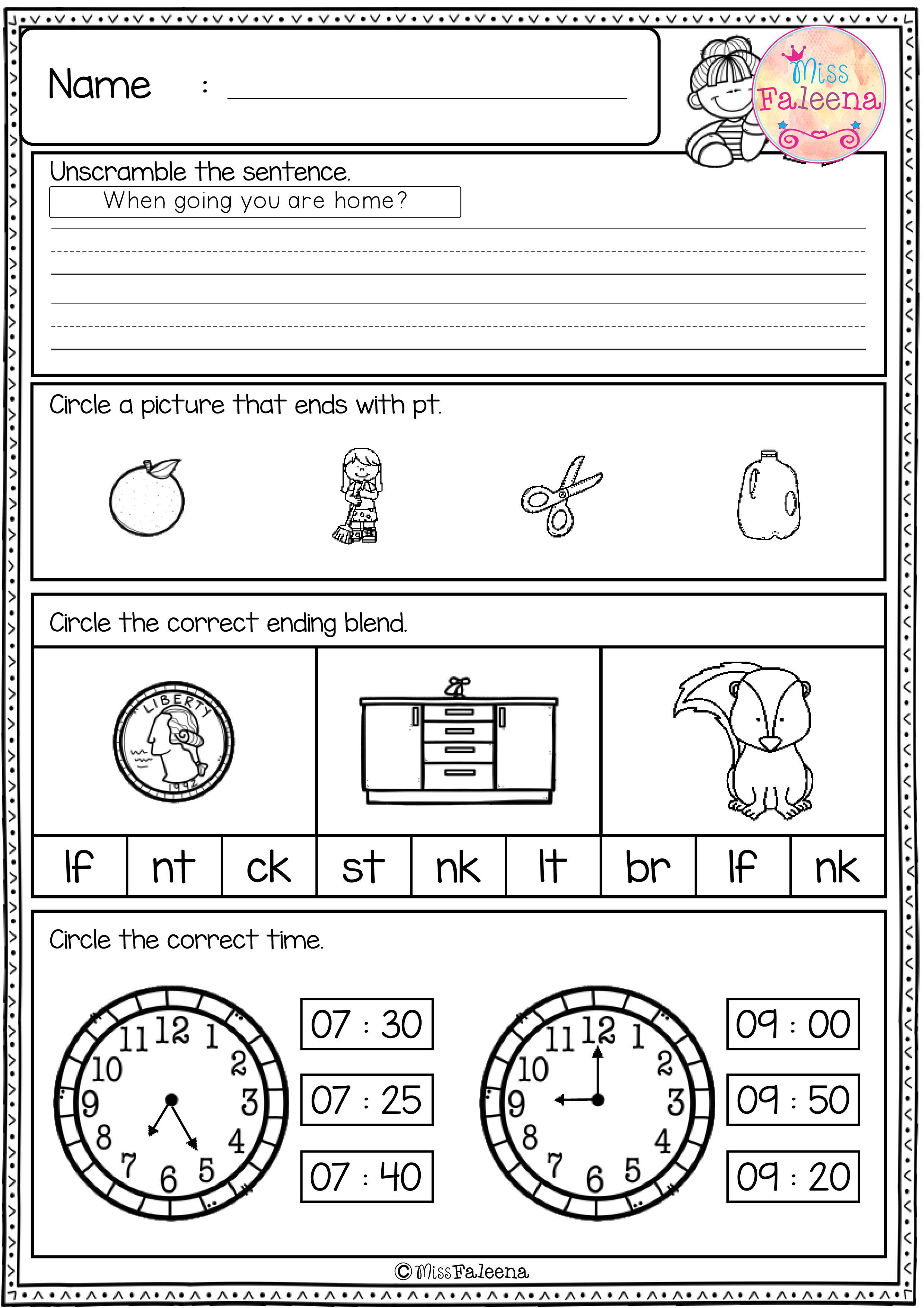 Free First Grade Morning Work Includes 20 Pages Of Morning Work Activities For Literacy And Math These Pages Are First Grade First Grade Freebies Morning Work