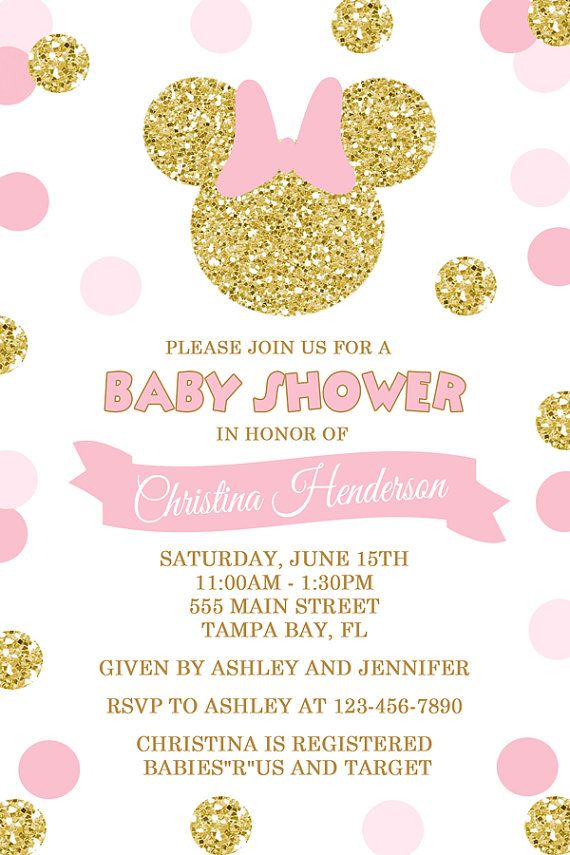 Minnie mouse baby shower invitation pink and gold polka dots girl pink and gold minnie mouse baby shower invitation by honeyprint solutioingenieria Images