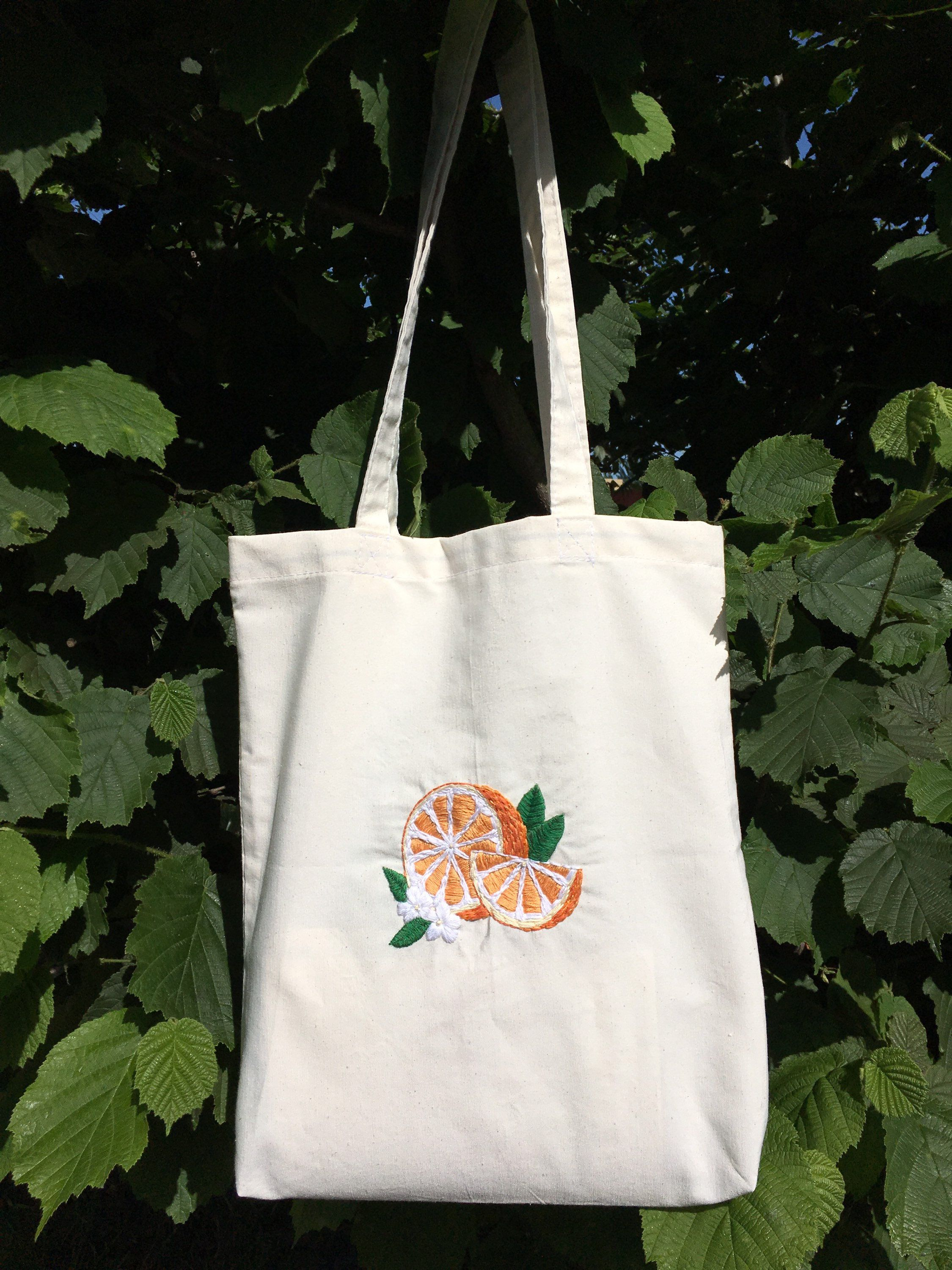 Orange Tote Bag Reusable Grocery Bag Cloth Tote Bag Etsy In 2020 Cloth Tote Bag Embroidery Bags Orange Tote Bags
