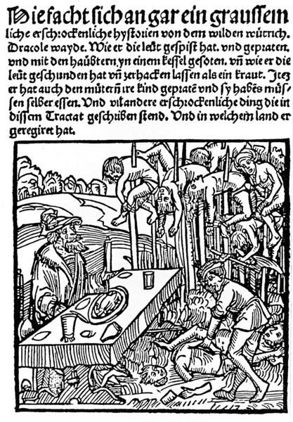 "Woodcut from the title page of a 1499 pamphlet published by Markus Ayrer in Nuremberg. It depicts Vlad III ""the Impaler"" (identified as Drac..."