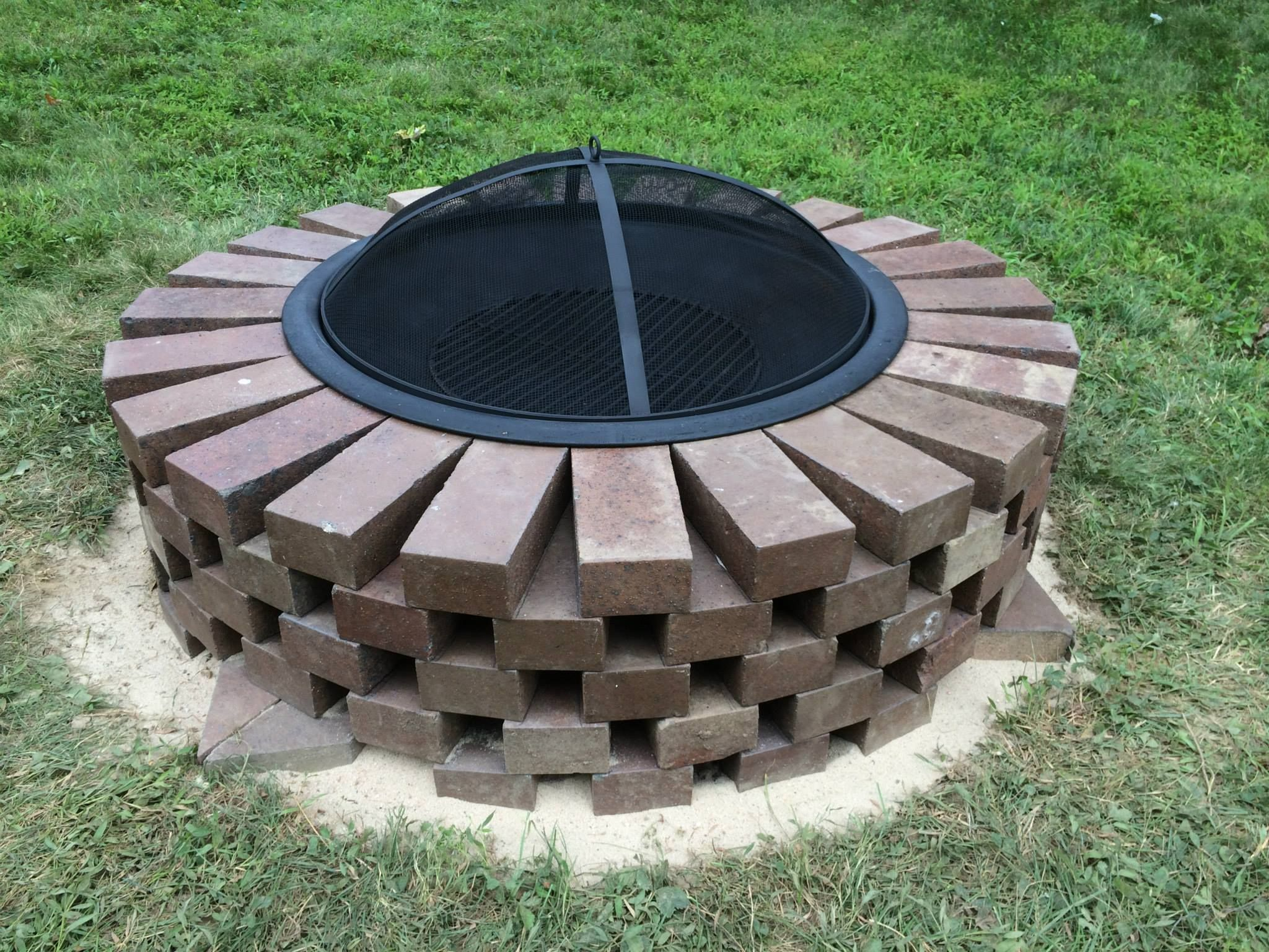 Fire Pit made with scavenged bricks, sand and masonry ...