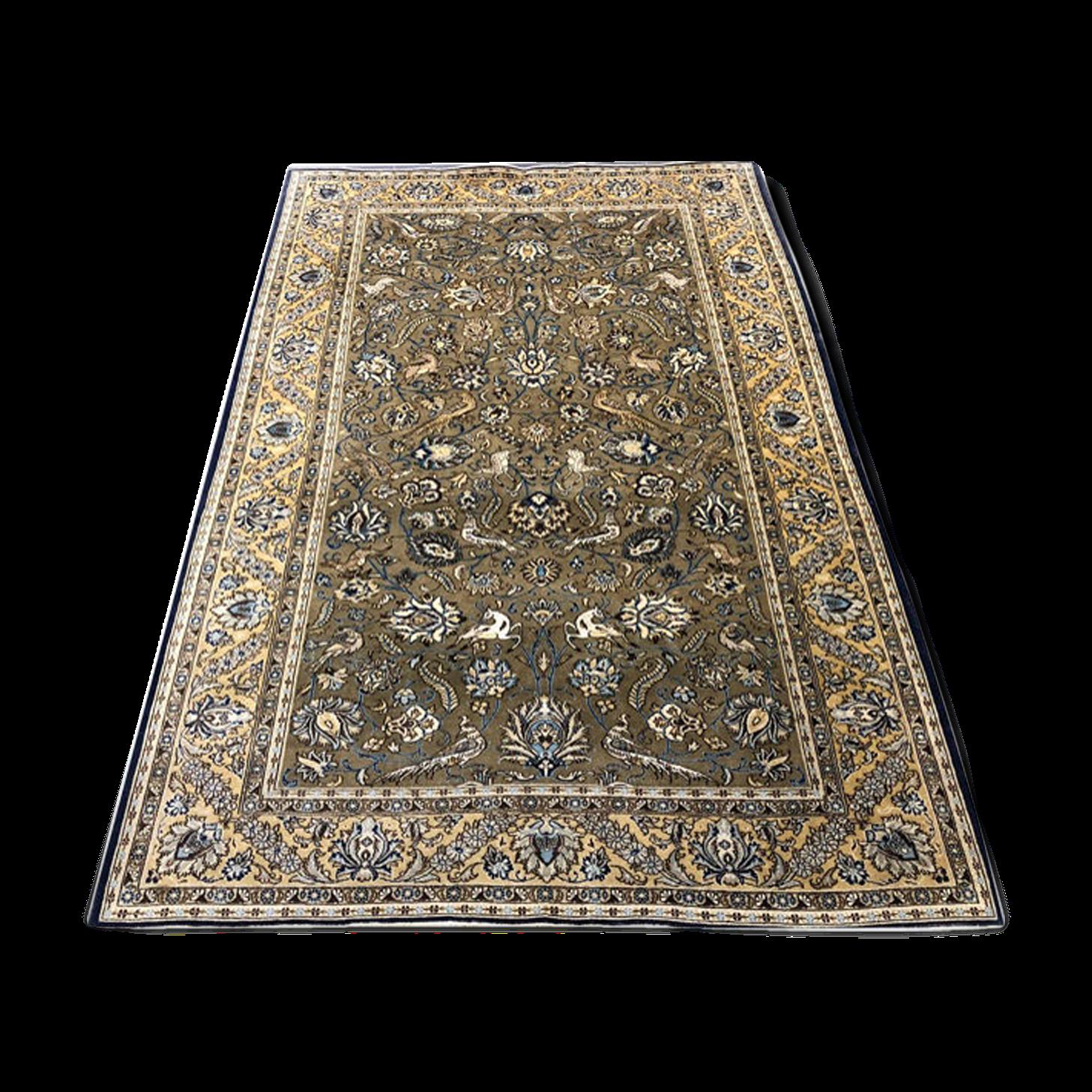 Tapis persan ghoum laine & soie 1970 160x255cm