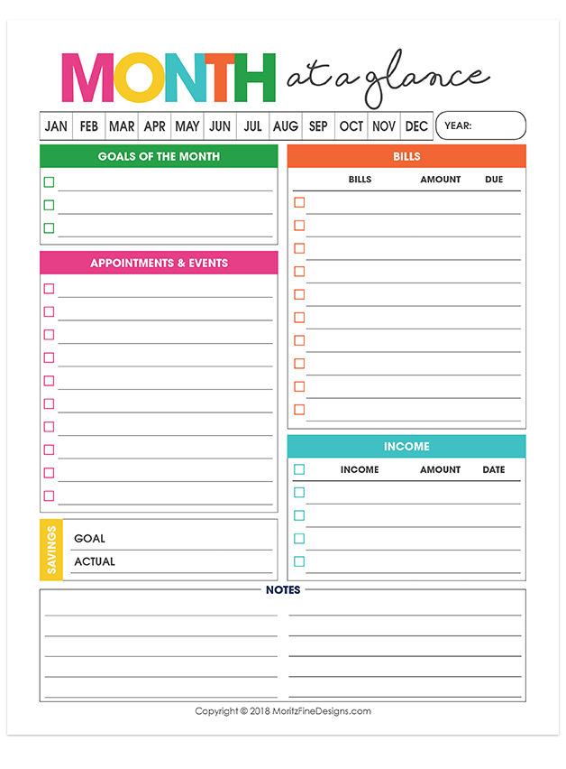 Monthly Overview Planner Diy And Crafts Pinterest Free