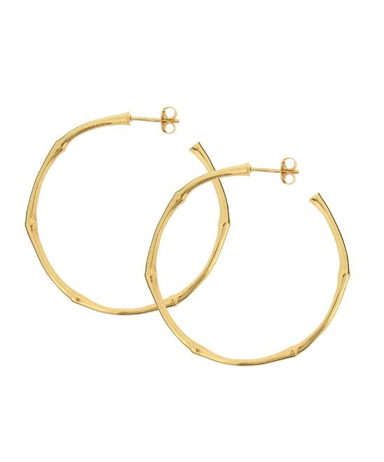 10k gold bamboo hoops large with post