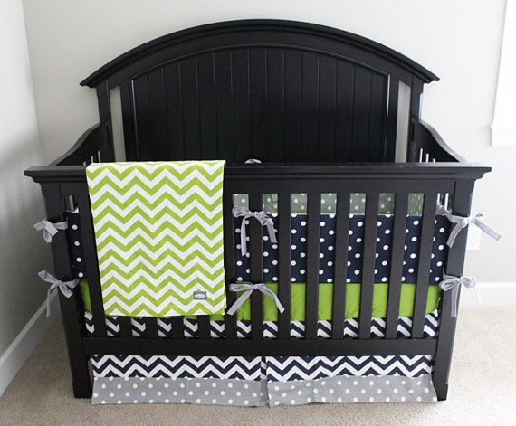 Baby Boy Crib Bedding Set, Polka Dot Bumper Pad, Lime Green Fitted Crib Sheet, Chevron Crib