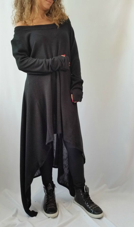 Black Asymmetrical Sweater Top / Oversize Sweater Dress / Long ...