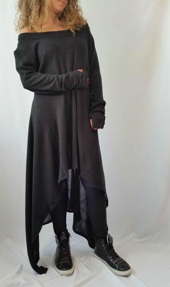 Black Asymmetrical Sweater Top   Oversize Sweater Dress   Long Women ... b2916d561