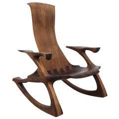 Craftsman Sculpted Walnut Rocking Chair